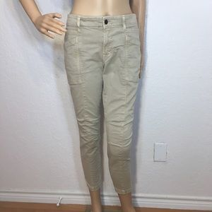 J Brand Beige Skinny Jeans with Zippers at legs